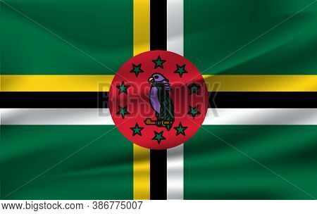 Realistic Waving Flag Of The Waving Flag Of Dominica, High Resolution Fabric Textured Flowing Flag,v