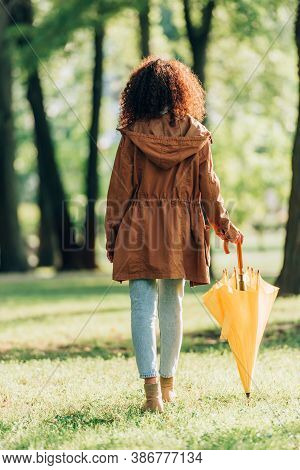 Back View Of Woman In Raincoat Holding Umbrella While Walking In Park