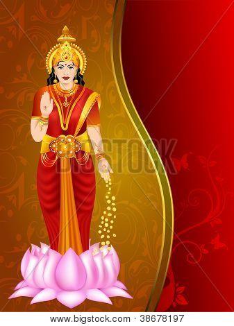 Illustration of Hindu goddess Laxmi. EPS 10.