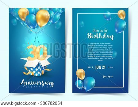 Celebration Of 30 Th Years Birthday Vector Invitation Card. Thirty Years Anniversary Celebration Bro