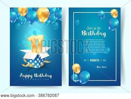 Celebration Of 11th Years Birthday Vector Invitation Card. Eleven Years Anniversary Celebration Broc