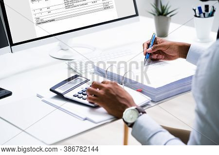 Electronic Invoice And E Receipt At Accountant Computer