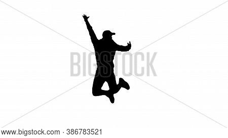 Silhouette Of A Man In A Jump,isolated On White,black Outline Of A Jumping Man In A Jump.