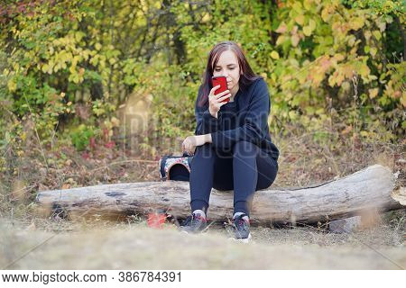 Young Woman In Casual Clothes Sitting On Log And Browsing Mobile Phone. Adult Brunette Rests With Sm