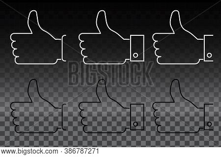 I Like The Icon. Set Of Likes. Thumb Up. Hand Showing Well Of Lines. Consent Symbol. Vector Illustra
