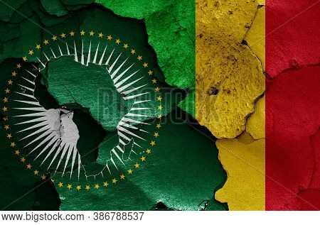 Flags Of African Union And Mali Painted On Cracked Wall