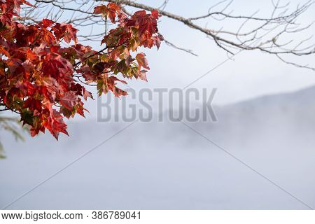 Fall Foliage On A Foggy Lake In The Adirondacks