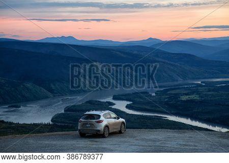 Dawson City, Yukon, Canada - August 27, 2020: Mazda Cx-5 On Top Of A Mountain Overlooking A Beautifu