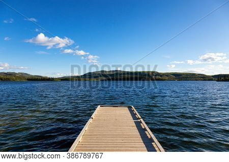 Wooden Quay At Twin Lakes Campground During A Sunny Summer Day. North Of Whitehorse, Yukon, Canada.