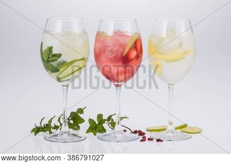 Cocktails - Three Different Drinks With Alcohol.