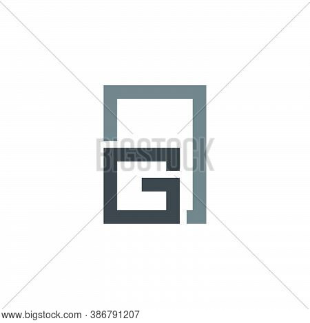 Letter G Simple Geometric Frame Window Symbol Logo Vector