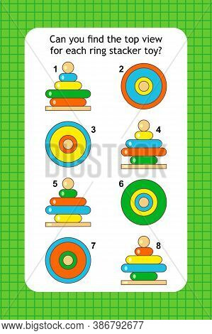 Abstract Educational Visual Puzzle With Top View Of Ring Stacker Toys. Spacial Reasoning Skills Trai