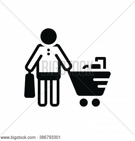 Black Solid Icon For Buyer Purchaser Grocery Vendee Trolly Consumable Purchase Shopping Consumer Pro