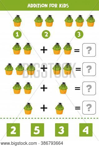 Addition Game For Kids. Cute Halloween Muffin.