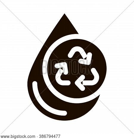 Water Drop And Recycling Mark Vector Sign Icon . Water Drop, Filter Liquid Clearing Pictogram. Recyc