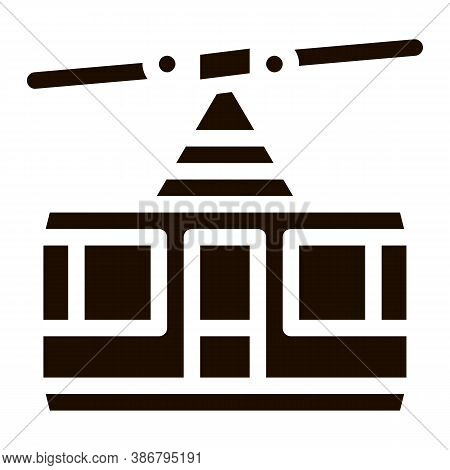 Public Transport Aerial Lift Vector Icon. Elevated Mountain Road Aerial Lift, Urban Passenger Transp