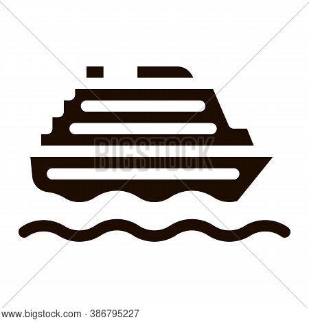 Public Transport Ferry Vector Sign Icon. Sea Ship Boat Ferry, Urban Passenger Transport Pictogram. C