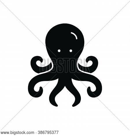 Black Solid Icon For Octopus Devilfish Octopod Feeler Squid Aquatic Cuttlefish Dangerous Monster Dee