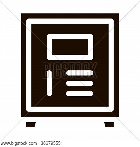 Electronic Safe Deposit Vector Icon. Safe Deposit For Guests Valuables, Hotel Performance Of Service
