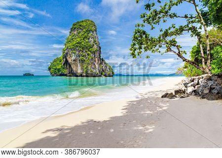 Beautiful Beach At Railay Beach In Krabi Province, Thailand.