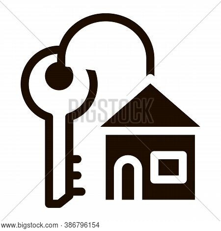 Key With Keyfob In Building Form Vector Sign Icon . Door Key And House Pictogram. Mortgage On Real E