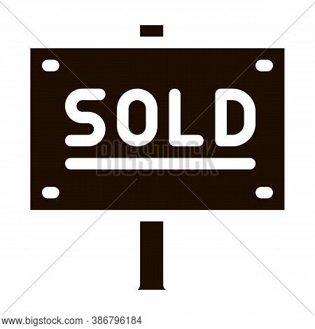 Tablet For Real Estate Sold Vector Icon. Announcement Tablet Sold Housing Market Equipment Element P