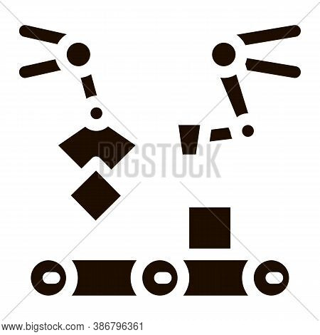 Gathering Conveyer Artificial Vector Sign Icon . Artificial Intelligence Robot Detail Mechanic Arm F