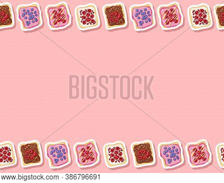 Toast Bread Sandwiches Comic Style Seamless Border Pattern. Sandwiches With Pink Icing Spread And Be