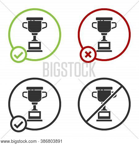 Black Award Cup Icon Isolated On White Background. Winner Trophy Symbol. Championship Or Competition