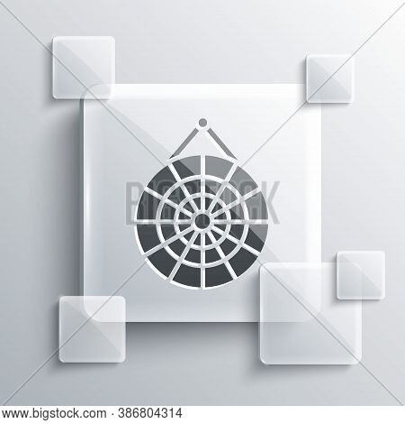 Grey Classic Dart Board And Arrow Icon Isolated On Grey Background. Dartboard Sign. Game Concept. Sq
