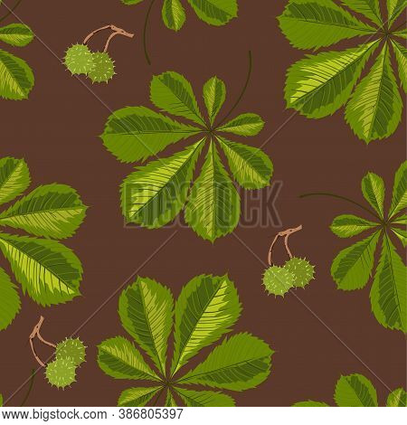 Chestnut Tree Leaves And Berries With Thorns Seamless Pattern