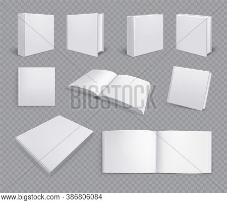 Set Of Isolated Books Albums Mockup Realistic Images On Transparent Background With Horizontal Pages