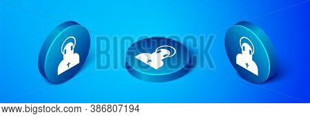 Isometric Monk Icon Isolated On Blue Background. Blue Circle Button. Vector