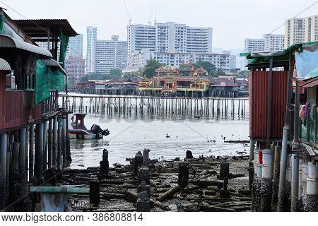 Georgetown, Penang, Malaysia, January 18, 2020: Hean Boo Thean Kuan Yin Temple Seen From Chew Jetty,