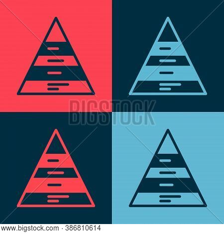 Pop Art Business Pyramid Chart Infographics Icon Isolated On Color Background. Pyramidal Stages Grap