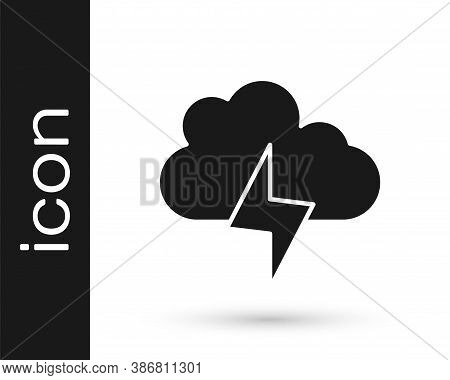 Black Storm Icon Isolated On White Background. Cloud And Lightning Sign. Weather Icon Of Storm. Vect