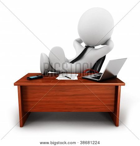 3d white people relaxed businessman