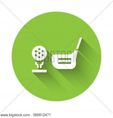 White Golf Flag And Golf Ball On Tee Icon Isolated With Long Shadow. Golf Equipment Or Accessory. Gr