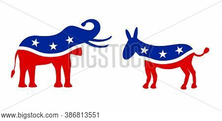 Usa 2020 Voting In Elections. Symbols Of The Democratic And Republican Party Elephant And Donkey On