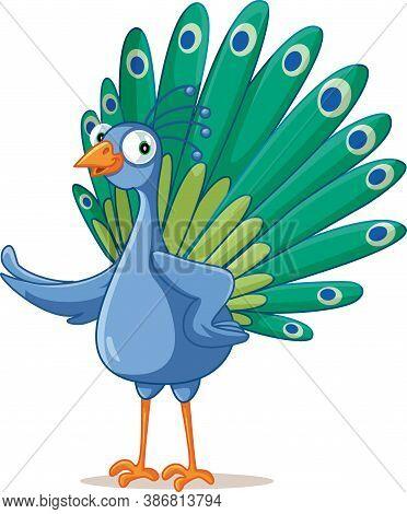 Funny Vector Cartoon Peacock Bird Character Standing