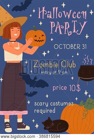 Announcement Of Childish Happy Halloween Party With Place For Text. Poster Of Seasonal Holiday With