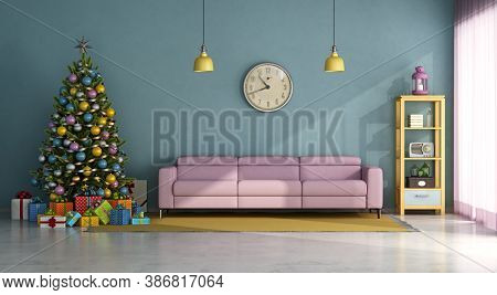 Vintage Style Living Room With Colorful Christma Tree,gift And Pink Sofa - 3d Rendering