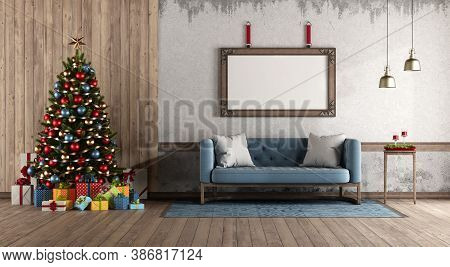 Retro Style Living Room With Christmas Tree Against Wooden Panel And Blue Classic Sofa - 3d Renderin
