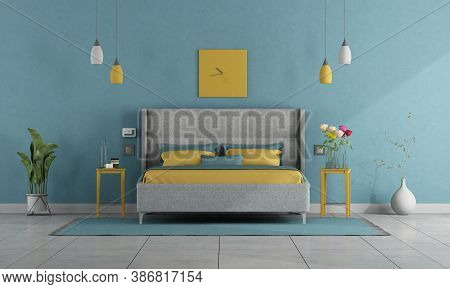 Modern Pastel Colors Bedroom With Double Bed Amd Night Stand - 3d Rendering
