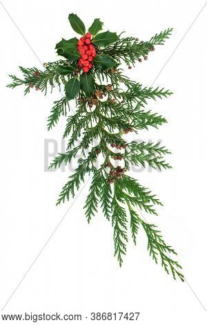 Decorative Winter Christmas & New Year display with cedar cypress leaves & holly with red berries on white background. Natural greenery element for the festive season. Flat lay, top view, copy space.