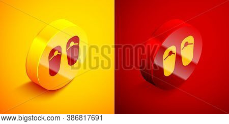 Isometric Flip Flops Icon Isolated On Orange And Red Background. Beach Slippers Sign. Circle Button.