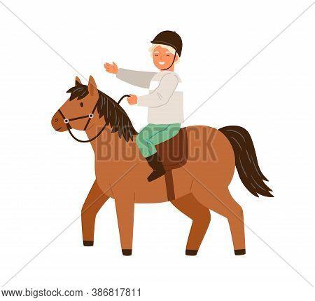 Happy Little Boy In Protective Helmet Ride On Horseback Vector Flat Illustration. Smiling Male Child