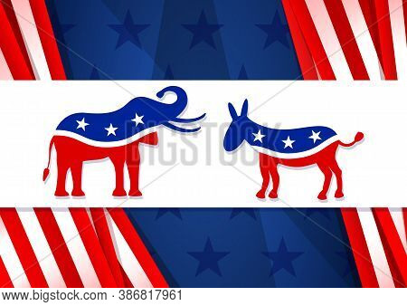 Voting 2020 In The United States. Symbols Of The Democratic And Republican Party Elephant And Donkey
