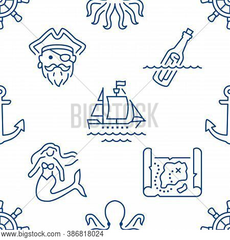 Marine Seamless Pattern With Line Icons. Vector Background Illustration Included Icon As Pirate, Sea