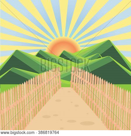 Mountain Green Landscape Wood Fence Path Yellow Sun Blue Sky Flat Design Art Design Stock Vector Ill
